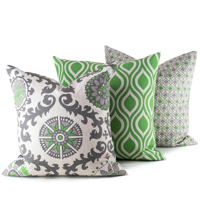 Etsy Throw Pillows 20x20 Throw Pillow Covers Decorative Throw Pillows Green Gray