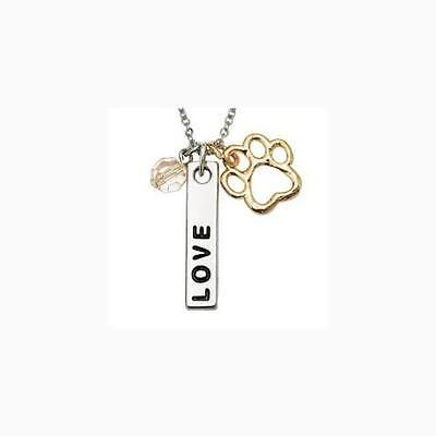 Signs and Plaques 46299: Rockin Doggie Paw Necklace Love Bar And Pink Crystal Bead, New BUY IT NOW ONLY: $32.64