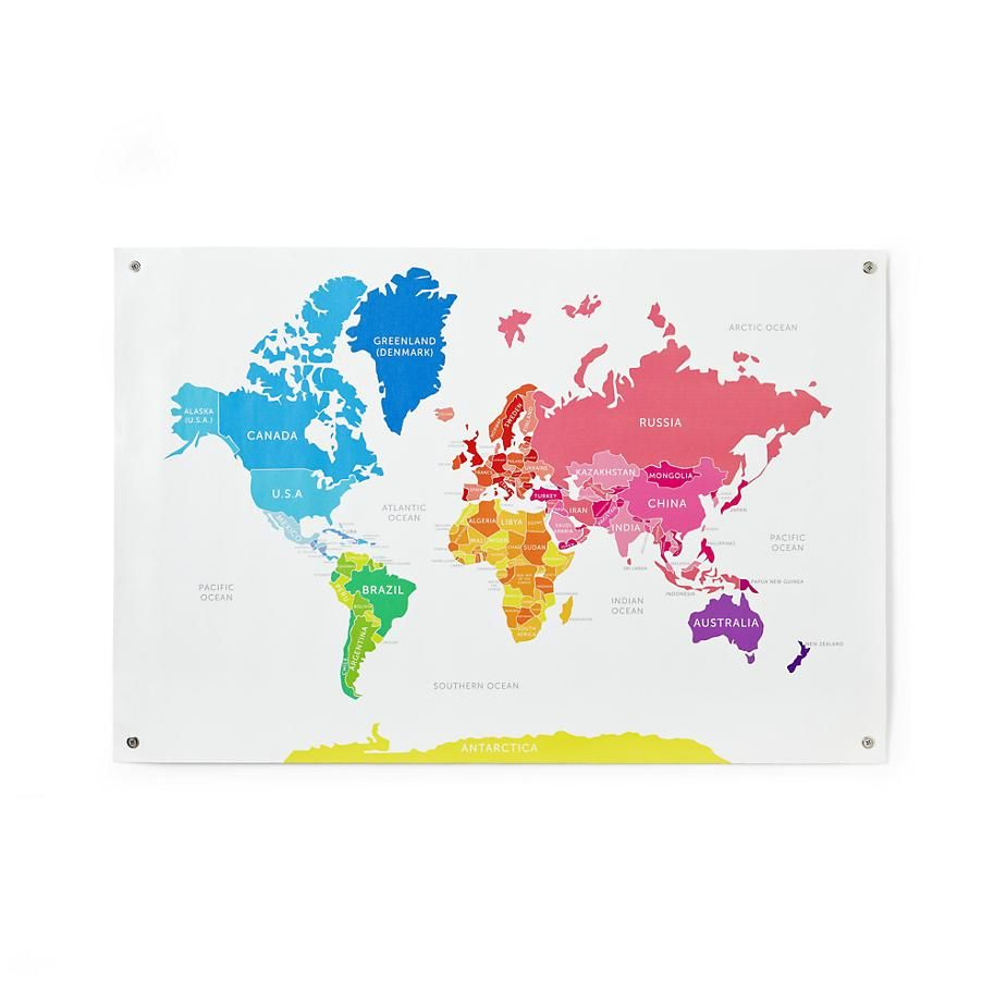 Kids' Posters, Prints & Art: Kids Colorful World Map ...