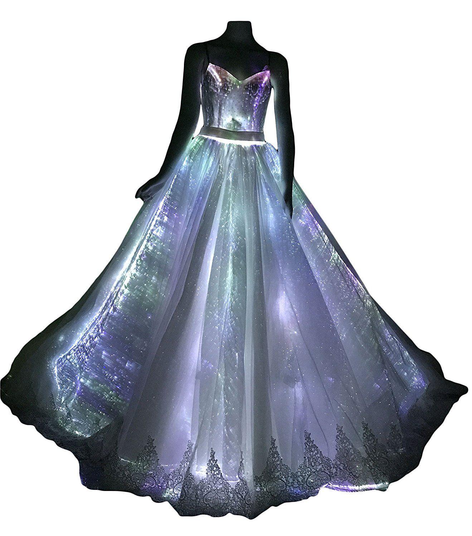 LED Fiber Optic Light up Wedding Dress Glowing Bridal Gown Luminous