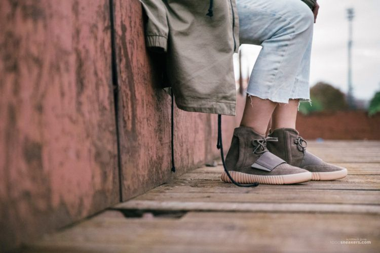 6d7420f2e0fe adidas Yeezy 750 Boost Light Brown On Foot Feet