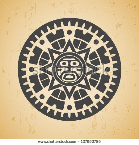 Abstract Stylized Maya Sun Symbol On Beige Background Stock Vector