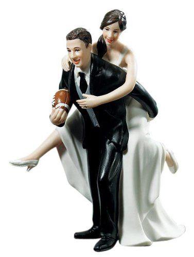 cake topper / Weddingstar Playful Football Wedding Couple Figurine