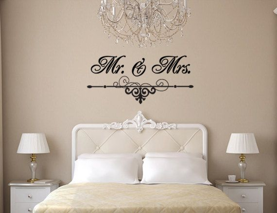 Mr. And Mrs. Wall Art Vinyl Black Decal With Flourish For Bedroom, Wedding  And Home Decor