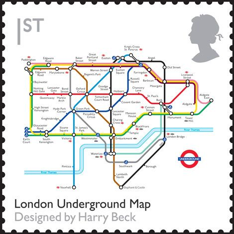uk stamp london underground map designed by harry beck
