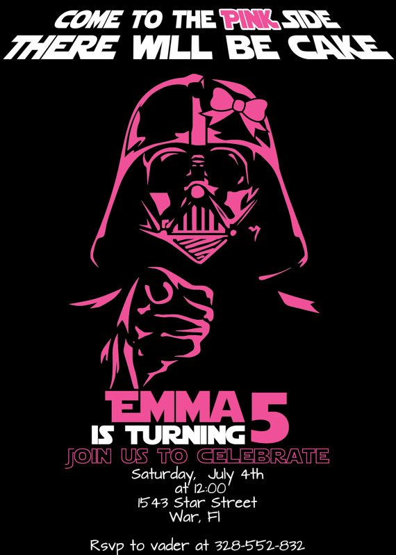 Star Wars Girls Pink Side Darth Vader Birthday Invitation Funtime