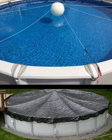The Cover Is Held Up By The Buoyancy Of The Ball Combined With The Tension Of The Stretch Supports The Supports Backyard Pool In Ground Pools Pool Landscaping
