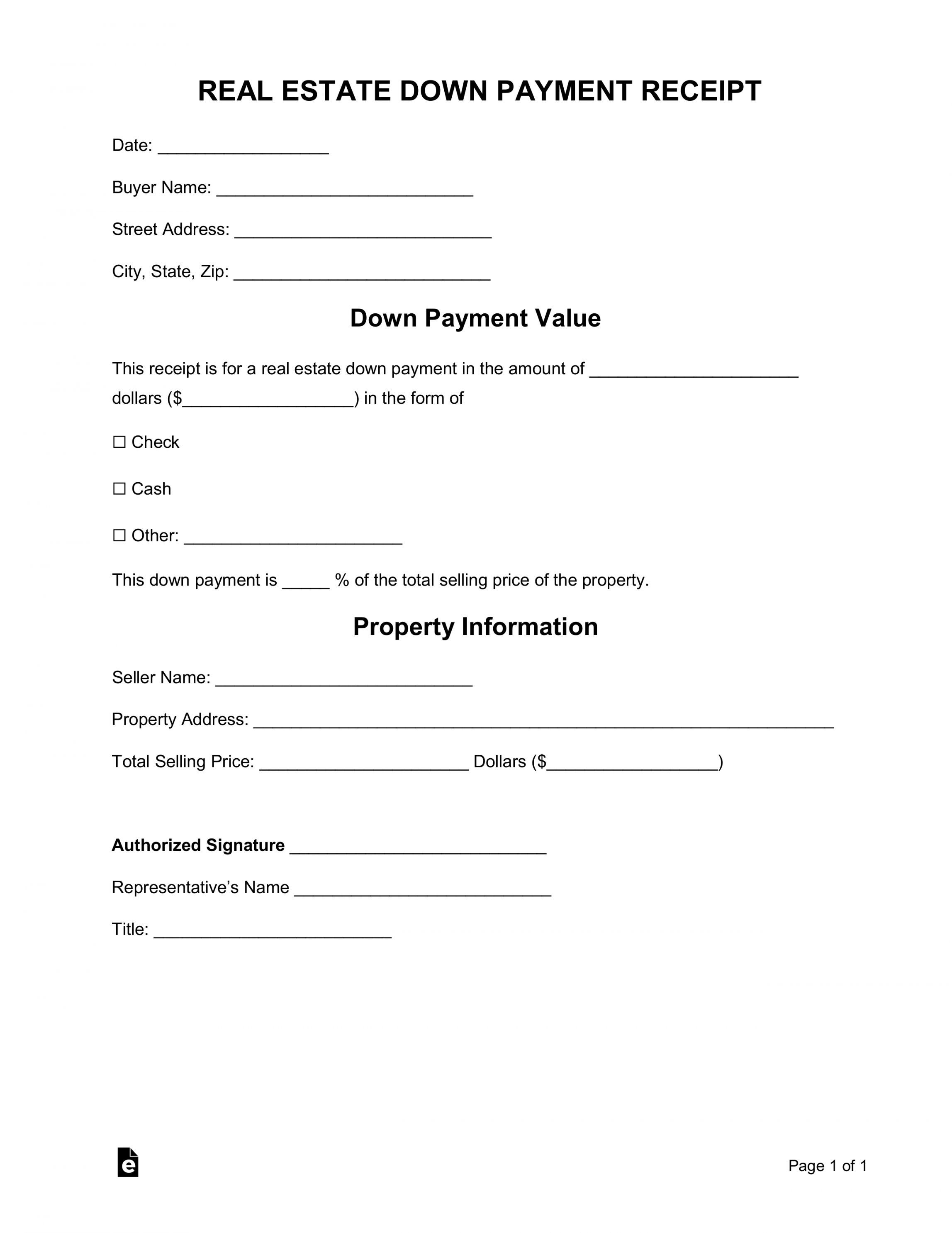 Explore Our Printable Real Estate Deposit Receipt Template Contract Template Receipt Template Down Payment