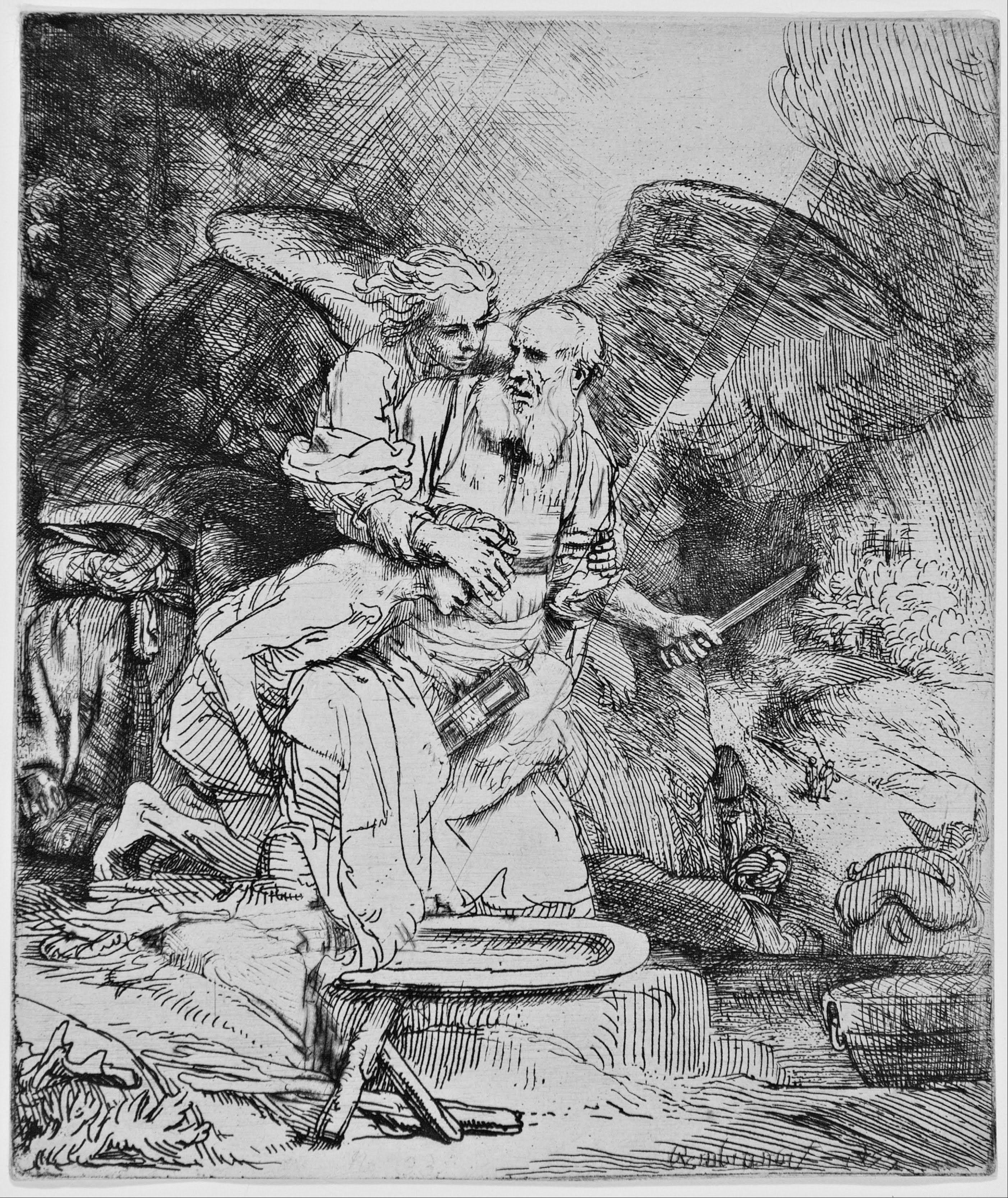 Rembrandt ~ Het offer van Abraham ~ 1655 ~ Ets en droge naald op papier ~ 15,6 x 13,2 cm.