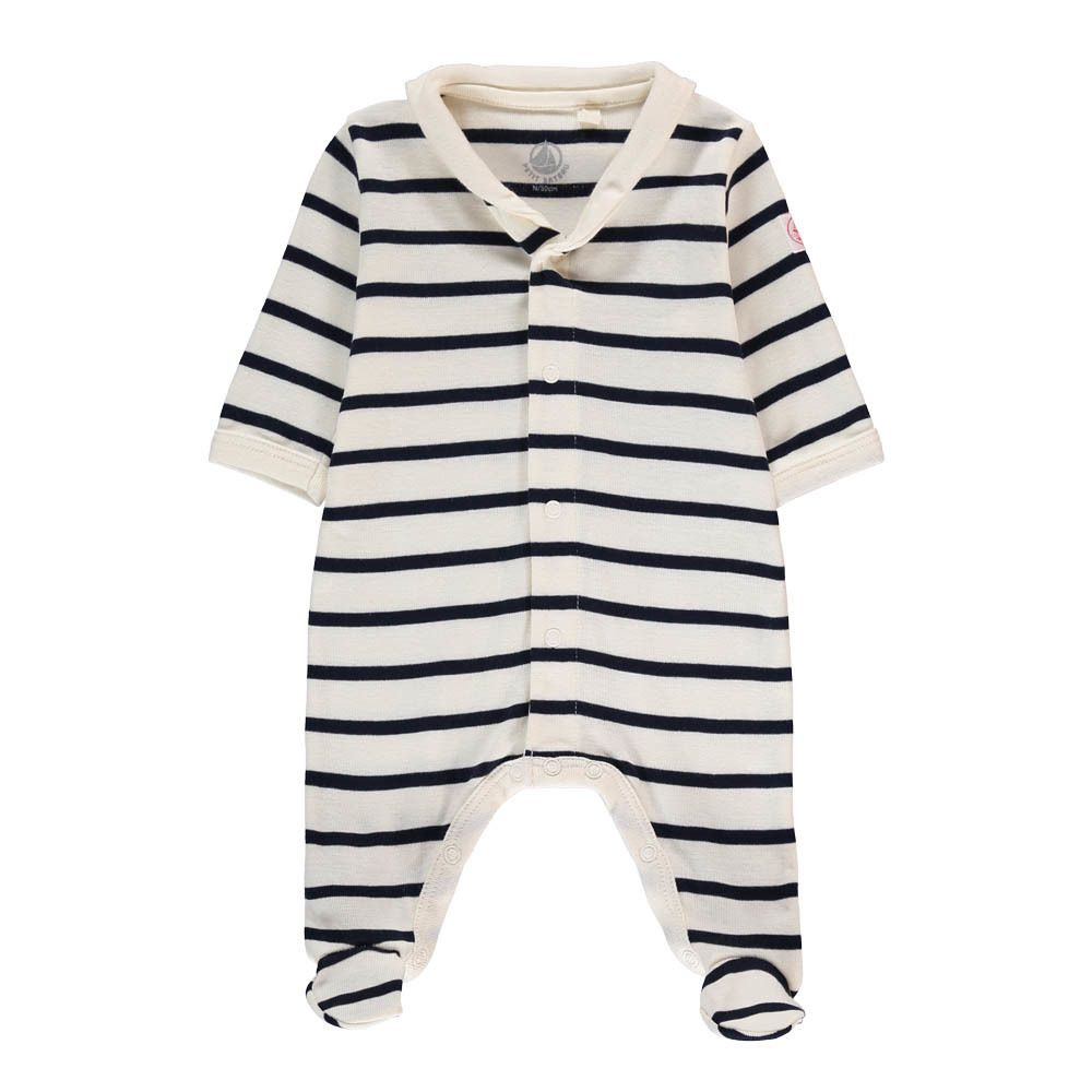 934b58c7c6dfd Petit Bateau Pyjama à Pieds Marinière Mally Ecru