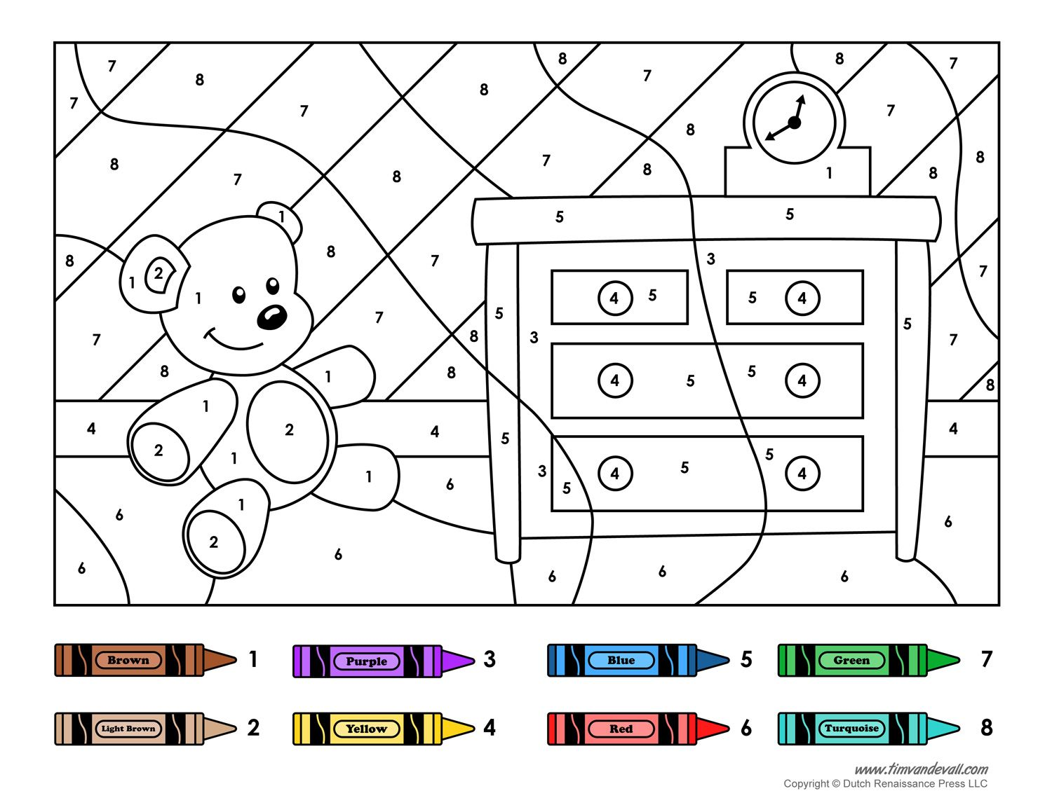Color by Number Printables (With images) Kindergarten