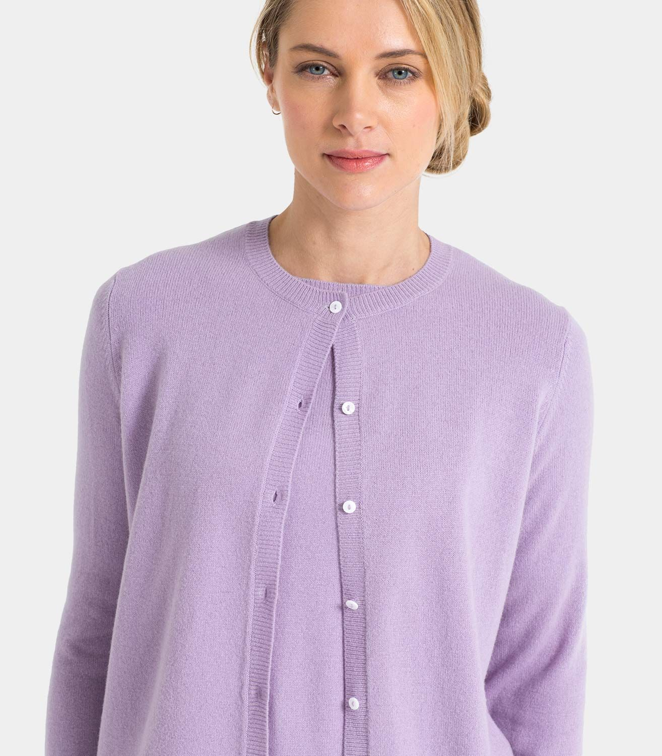 Light Grape Womens Cashmere and Merino Twinset Plain Cardigan ...