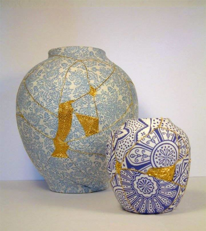 Brighton-based embroidery artist Charlotte Bailey constructs her patchwork vases by sewing fragmented porcelain back together, using patterned fabric and metallic thread. Her creations put a dazzling new spin on the ancient Japanese custom of kintsugi. In the traditional kintsugi technique, broken pottery is repaired by rejoining the pieces with golden lacquer, which highlights the damage as a celebrated aspect of the heirloom's history. Bailey was inspired by the philosophy, she explains…