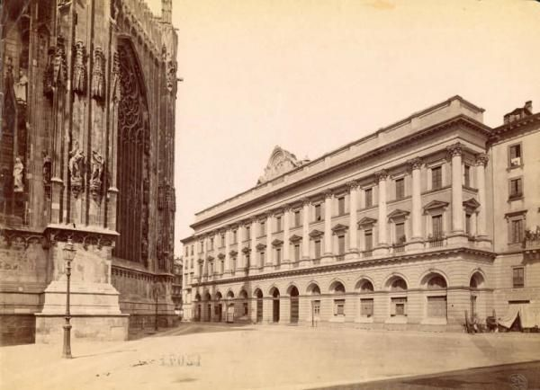 Milano - Corso Vittorio Emanuele - Abside del Duomo e palazzo della Veneranda Fabbrica del Duomo  1875 - 1890