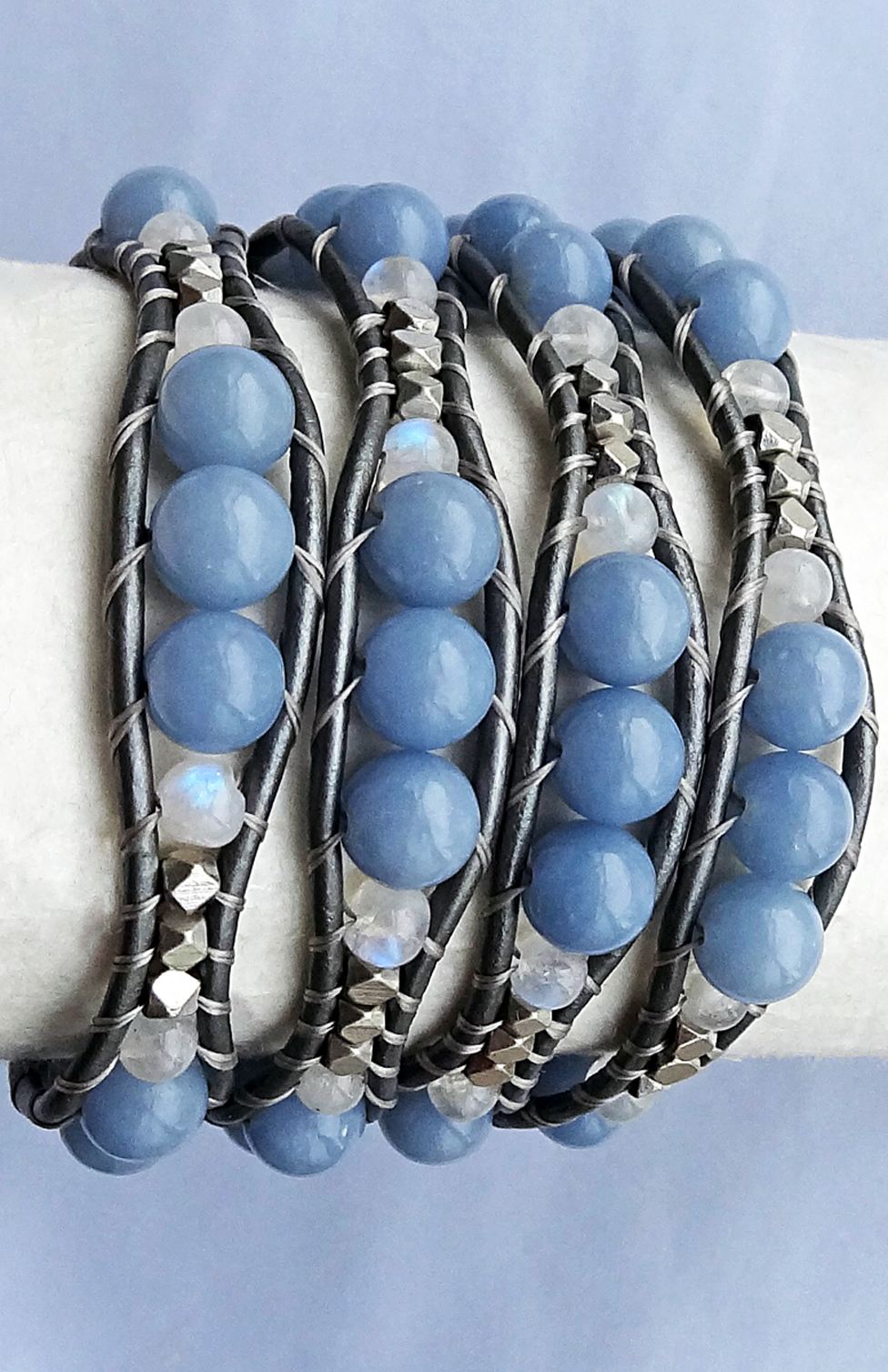 Angelic Bracelet Featuring Angelite Natural Stones Moonstone And Silver Plated Cubes Wo Beaded Jewelry Earrings Handmade Leather Bracelets Jewelry Inspiration