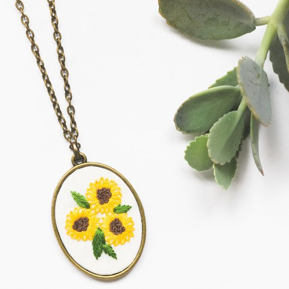 Sunflower Hand Embroidered Necklace Yellow Long Statement