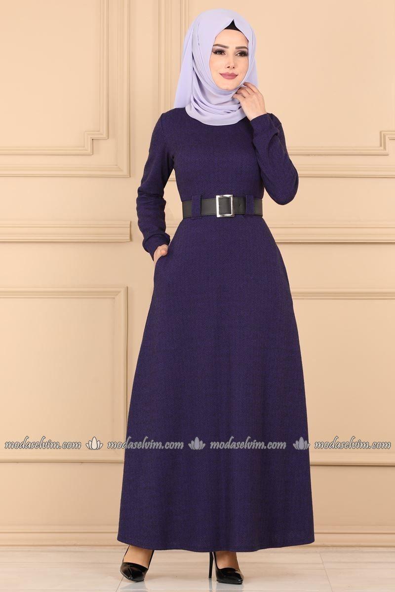 Kemerli Tesettur Elbise 3010ukb139 Mor Moda Selvim Elbise The Dress Elbiseler
