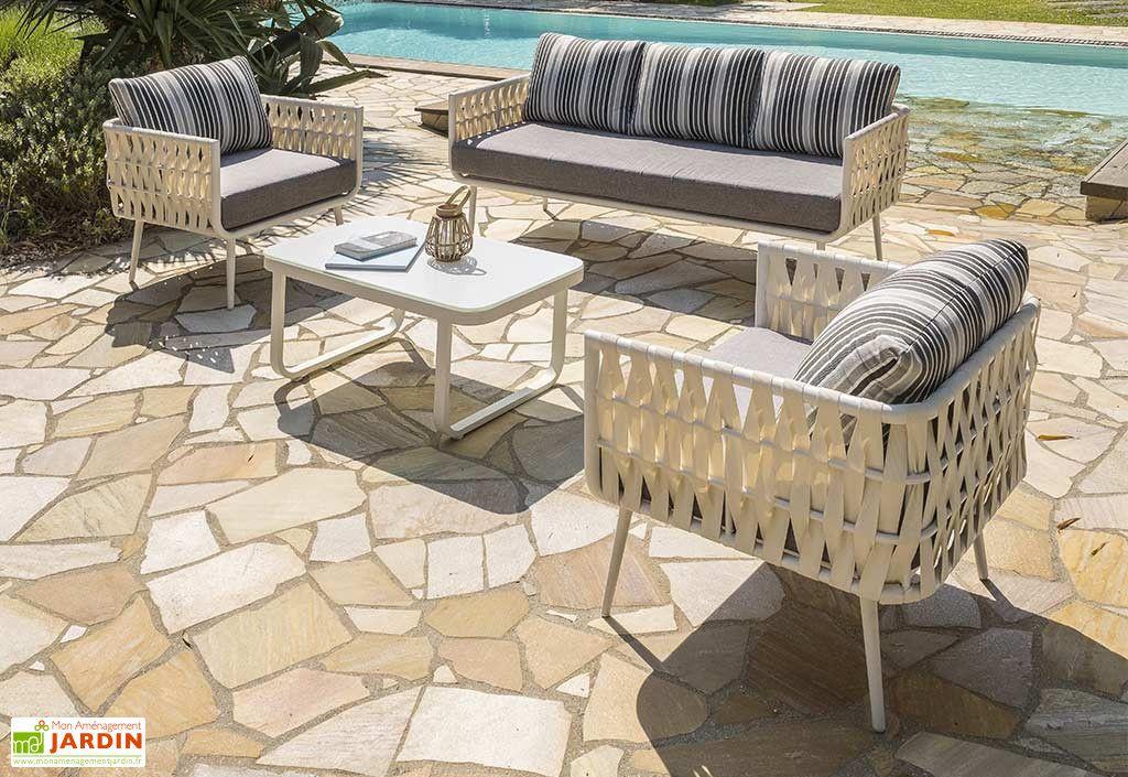Salon De Jardin En Aluminium Table Basse Et Canape 5 Places