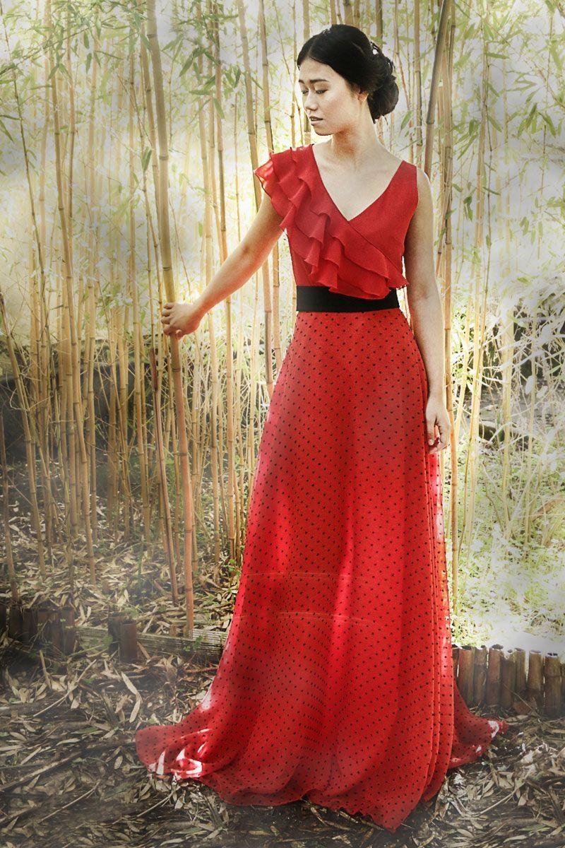 0e7d145bf1 Falda de topos en color rojo y totalmente forrada.  invitadasboda   lainvitadaperfecta  apparentia  arimoka