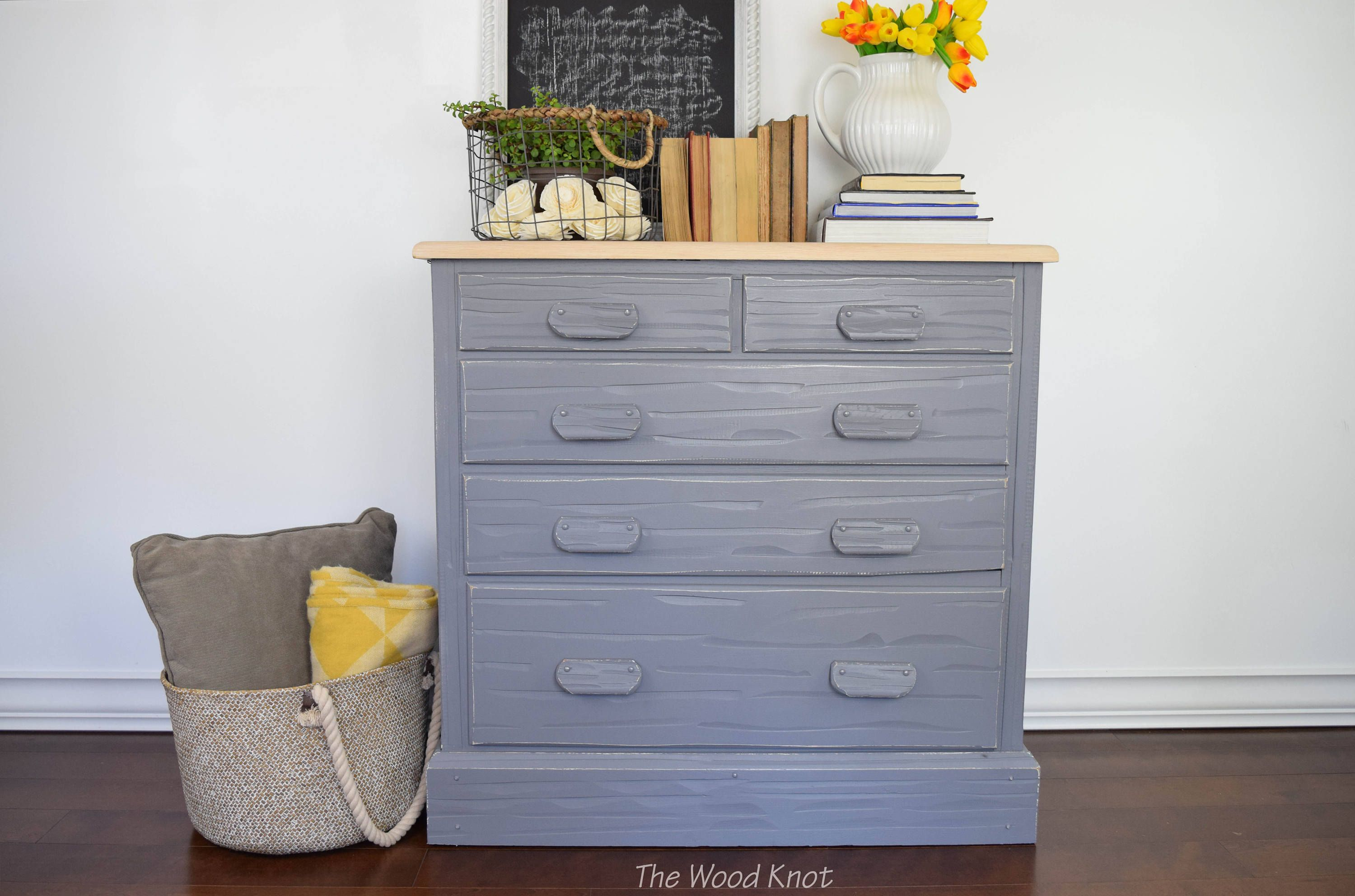 Farmhouse rustic gray and off white dresser. Distressed