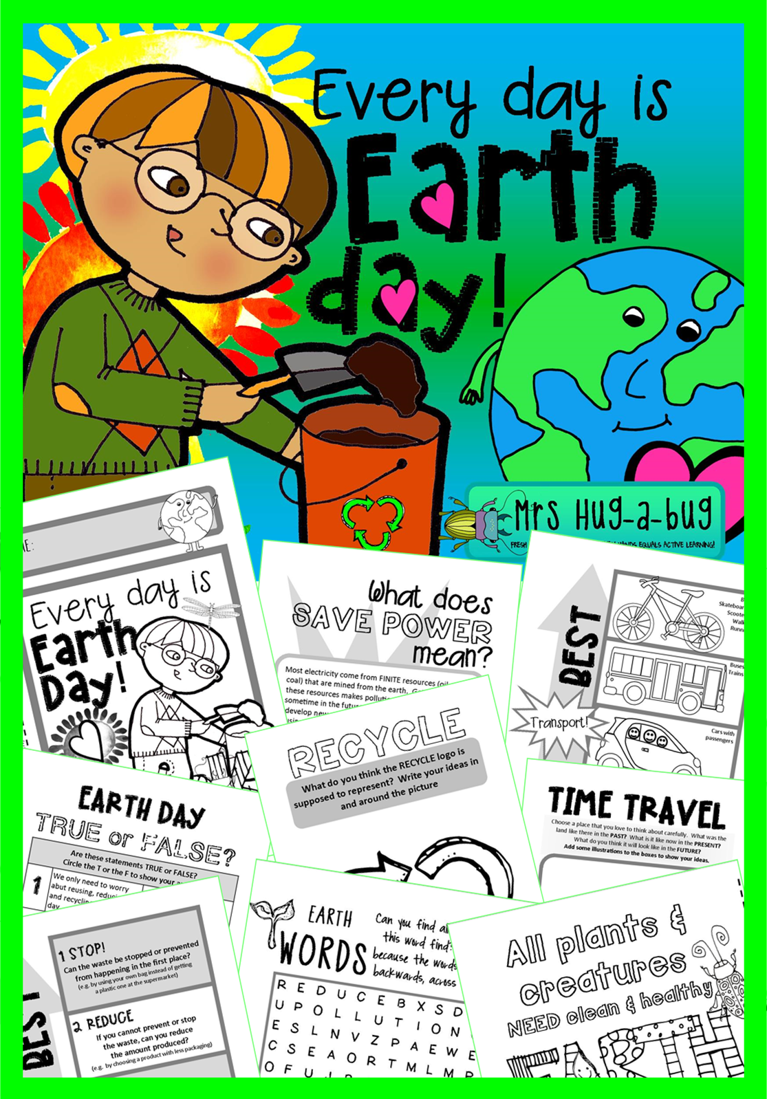 Every day is Earth day! If you're looking to take your class discussions deeper than the obligatory 'recycling' topic, then this might be the booklet for you!  This 38 page 'fun and facts' mini booklet is designed to support your classroom discussions about Earth day.  It includes a wide selection of follow up activities (many of which can be completed independently)