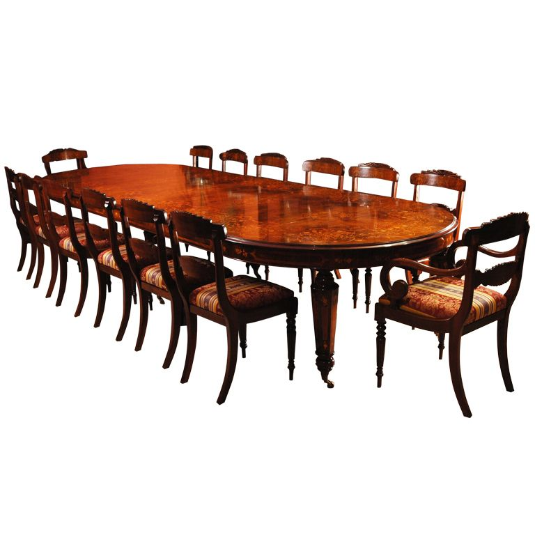 Large Victorian Dining Room: Victorian Marquetry Walnut Table & 14 Chairs Www.inbrook
