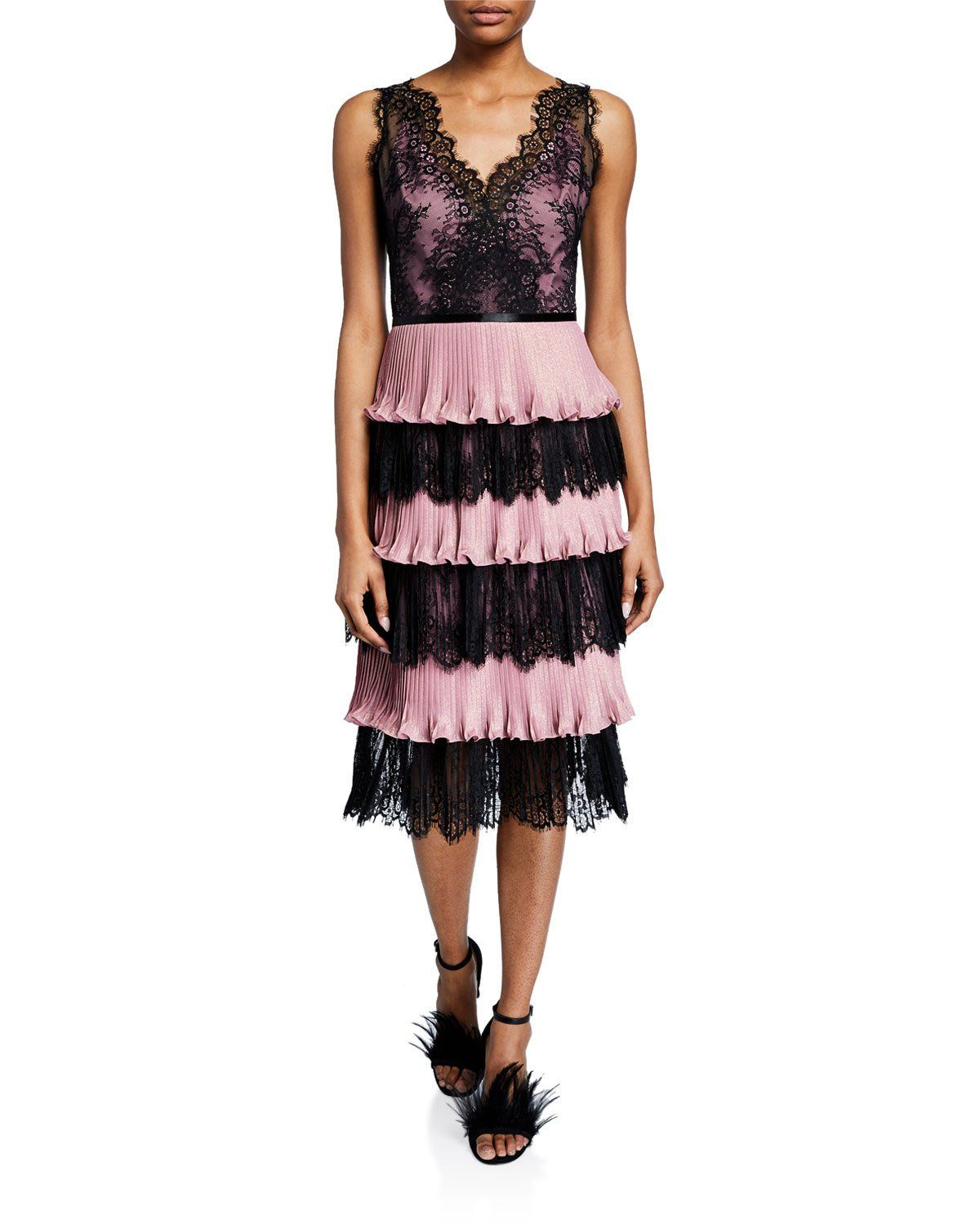 d07bfdc388 Marchesa Notte V-Neck Sleeveless Tiered Scallop Lace & Pleated Lame  Cocktail Dress | Neiman