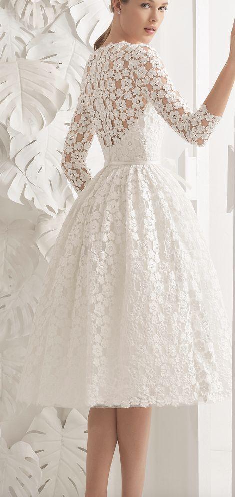 Tea-Length Floral Lace Quarter Length Sleeve Wedding Dress  5985896ac884