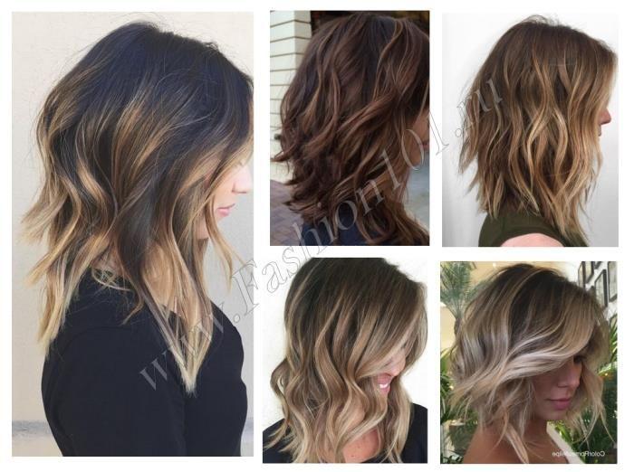 окрашивание для темных волос средней длины