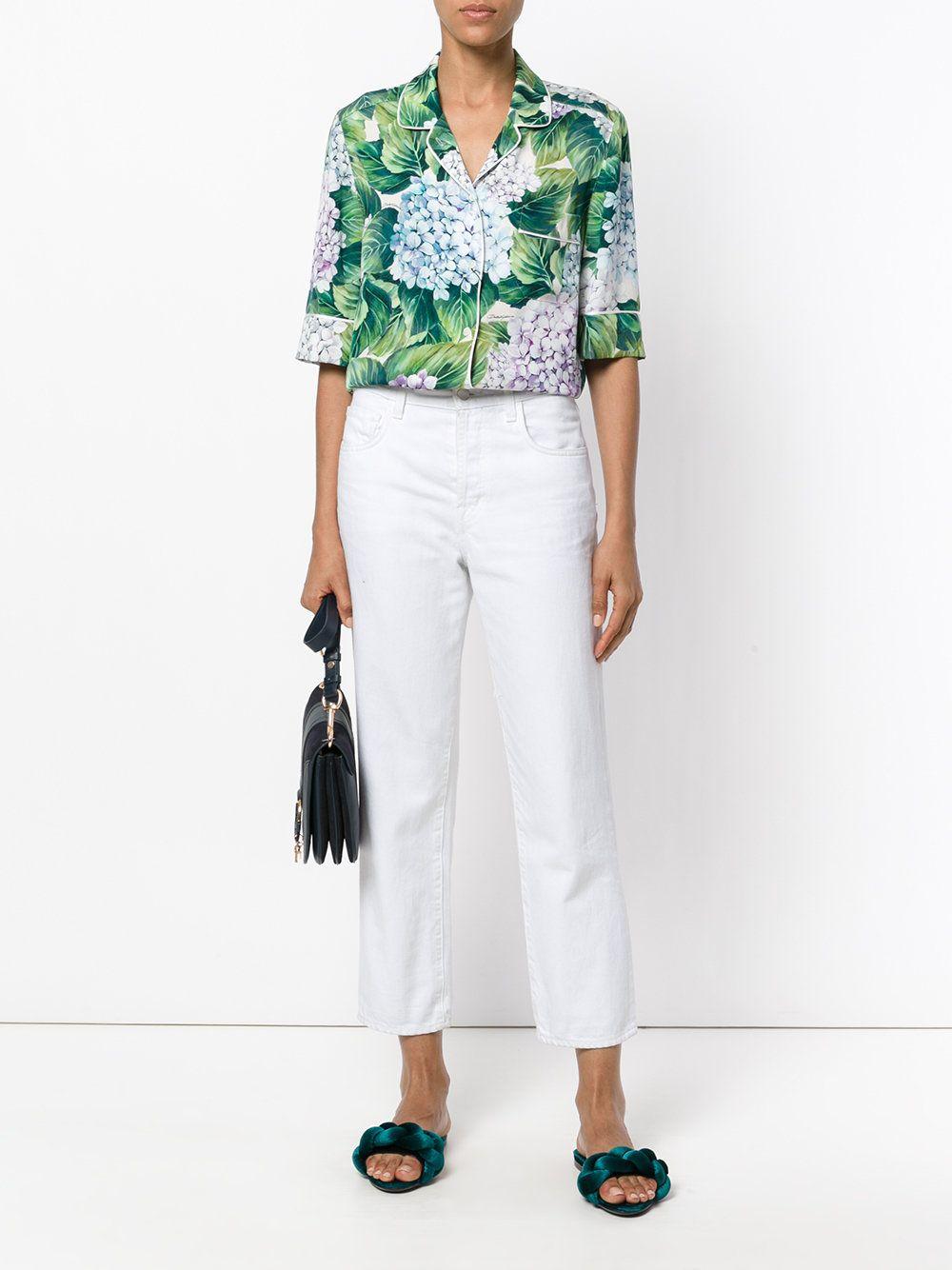 eb9f24923b6 Dolce   Gabbana Рубашка в Пижамном Стиле с Гортензиями - Farfetch ...