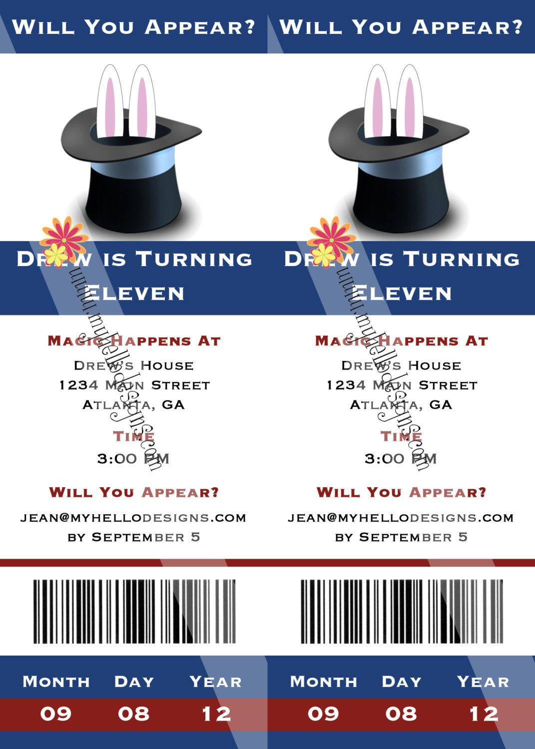 Birthday Invitations: Magic Ticket | Magician party | Pinterest ...