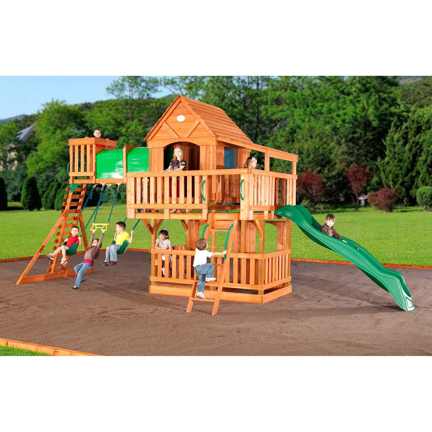 woodridge cedar swing set with slide and free shipping original