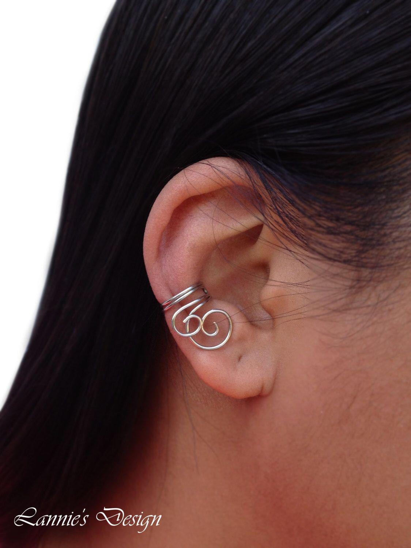 2nd ear piercing ideas  Silver Double Swirl Ear Cuff Cartilage No Piercing Earrings Gift