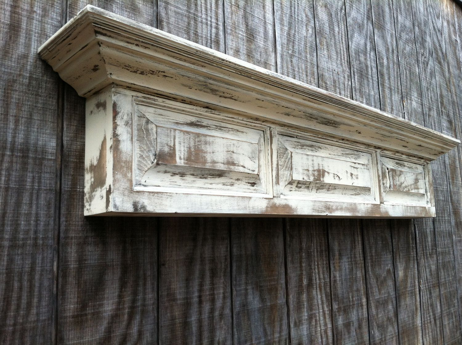 Distressed Wall Shelf Raised Panel Fireplace Mantel Shelf Via Etsy Wood