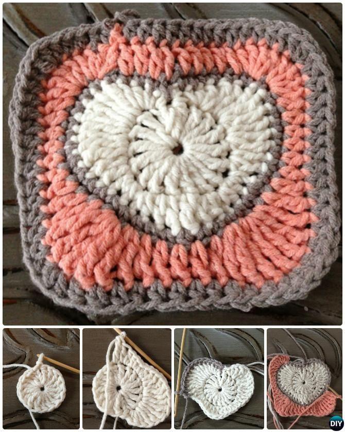 Crochet Heart Granny Square Free Pattern | Granny Square\'s | Pinterest