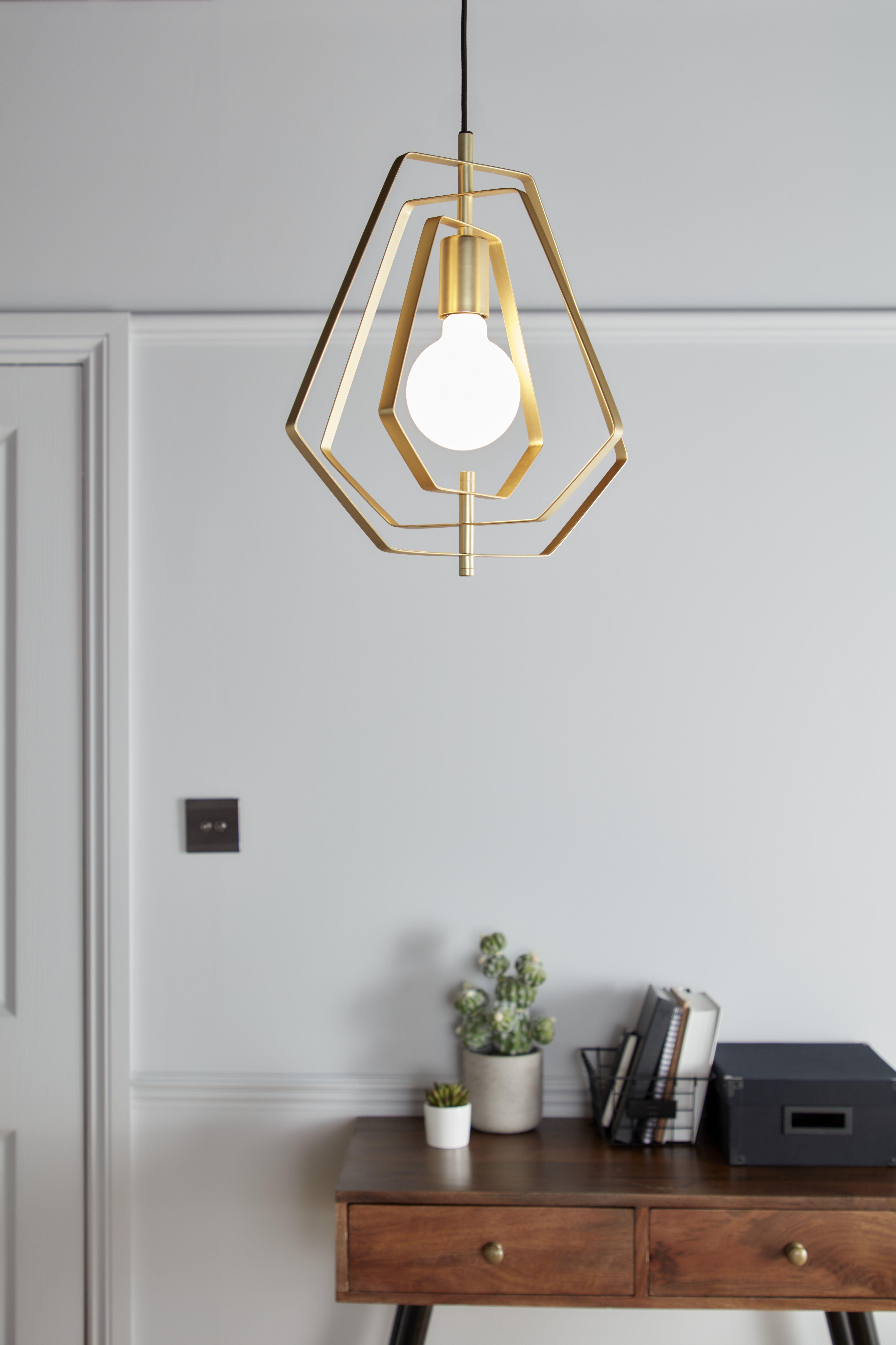 Lampa Wiszaca Goodhome Nedoki 1 Punktowa E27 35 Cm Mosiadz Lampy Wiszace Ceiling Lights Decor Goodhome