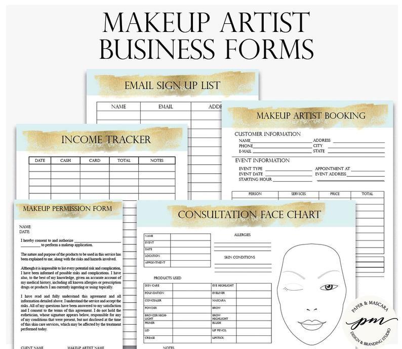 Makeup Artist Business Planner Bundle, Freelance Makeup Artist Forms, Wedding Makeup Artist Contact Template