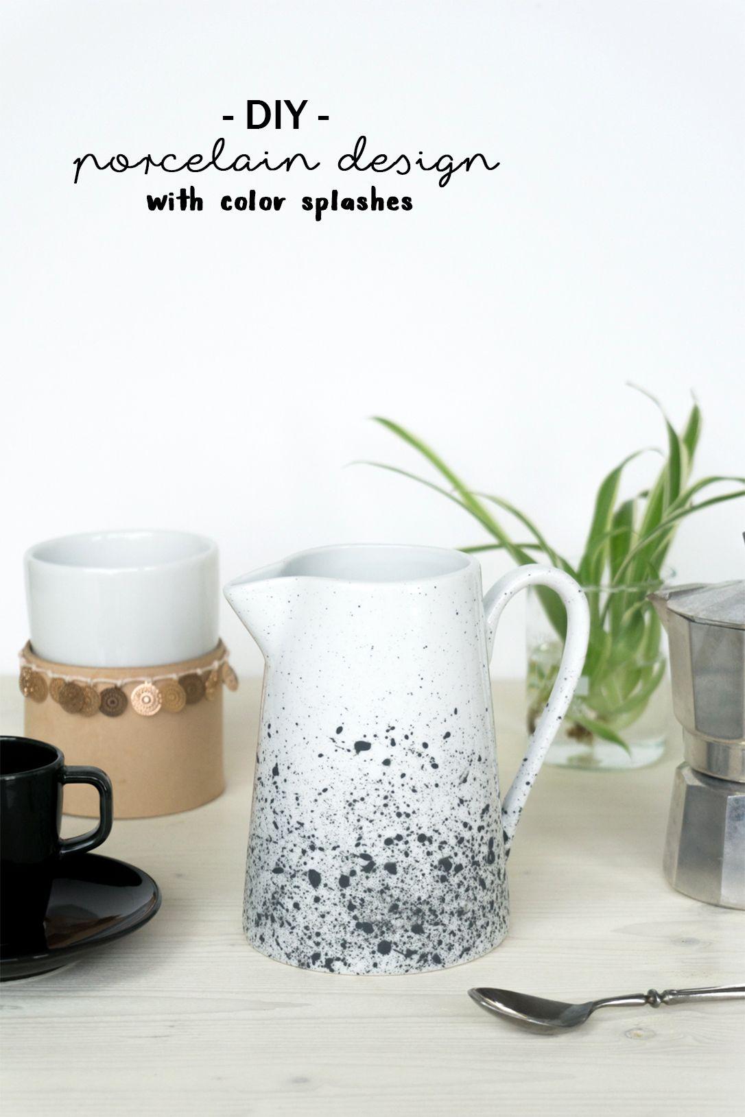 DIY Porzellan bemalen Milchkrug mit Farbsprenkeln gestalten u den