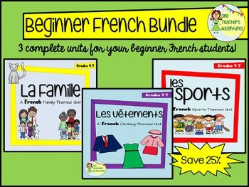 "This 71 page bundle includes three of my full French units for Beginners at a savings of 25% off their individual prices!  Click on the links below for previews of what you will receive.Les Sports Unit includes:-Vocabulary list with 15 terms in English and in French-Create your own Flash Cards Activity-Vocabulary Crossword (with answer key)-Vocabulary Verb Word Scramble (with answer key)-Vocabulary Matching Quiz (with answer key)-Asking Questions with ""Est-ce que"" Notes-Turning phrases into…"