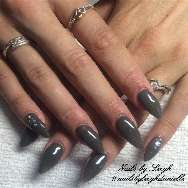 Olive Green Stiletto Nails By Leigh Nailsbyleighdanielle