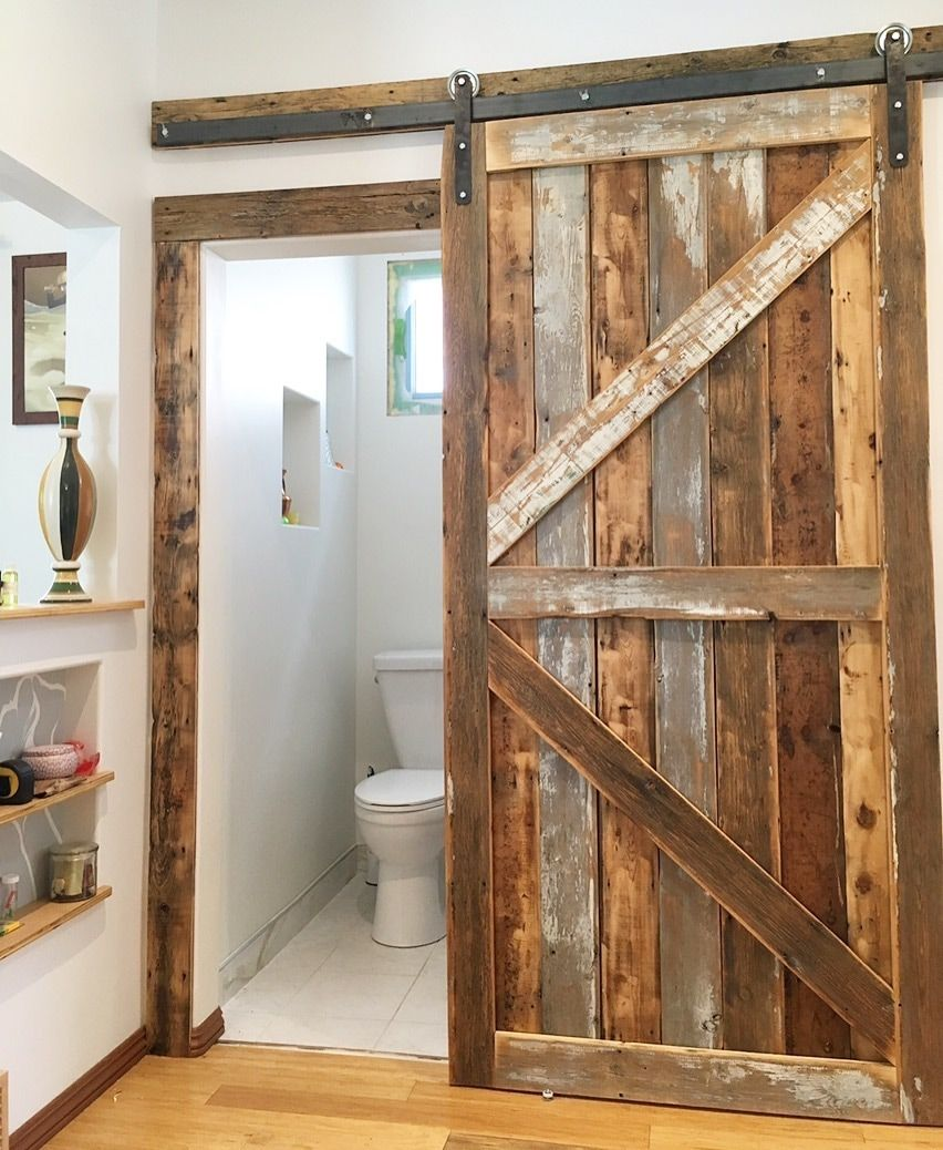His Her Home Reclaimed Wood Sliding Barn Door With Matching