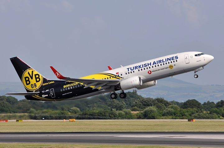 Mark Piacentini ‎International Aviation Photographers TC-JHU Boeing B737-8F2 of Turkish Airlines in Borussia Dortmund Colours at Manchester EGCC 13-07-2013.