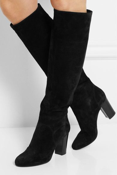 261095678cd9 Lanvin Lanvin s elegant black boots sit just below the knee and have a  comfortable block heel - perfect for round-the-clock wear.