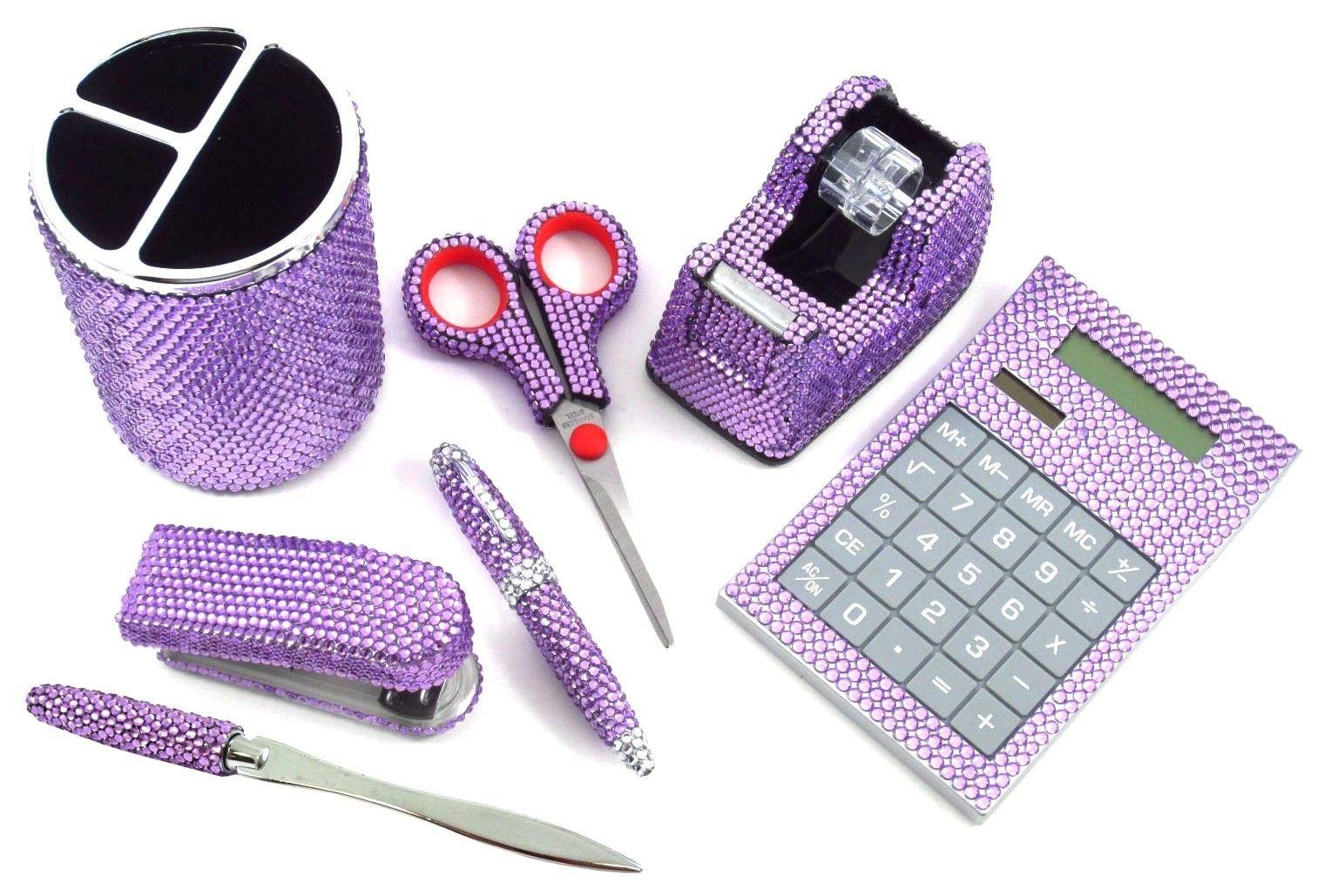 Purple Office Accessories | Piece Purple Crystal Office Supplies Set: Pen  Holder, Scissors,