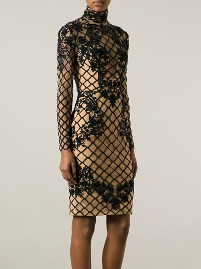 Think nude and black silk crochet, floral beadwork, and embellishments galore from  #ZuhairMurad… she's a stunner. #TreatYourself #StyleAndPanache