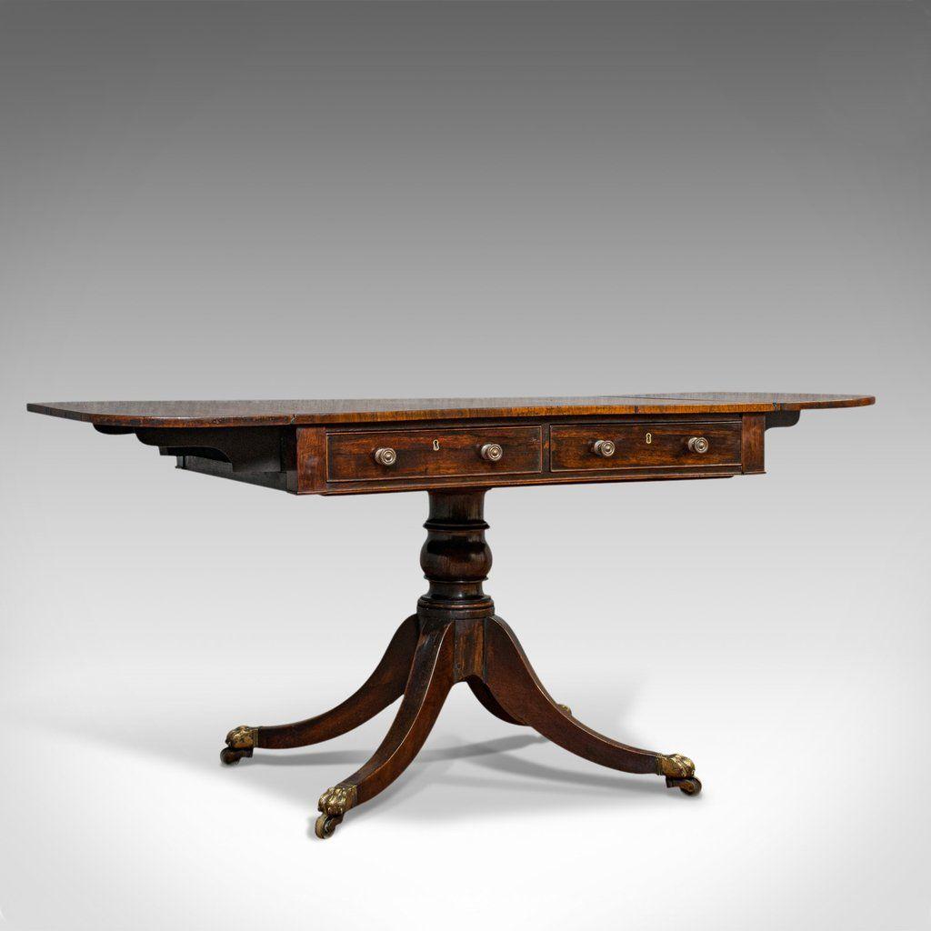 Antique Sofa Table English Rosewood Drop Leaf Side Occasional Regency Antique Sofa Table Antique Sofa Sofa Table