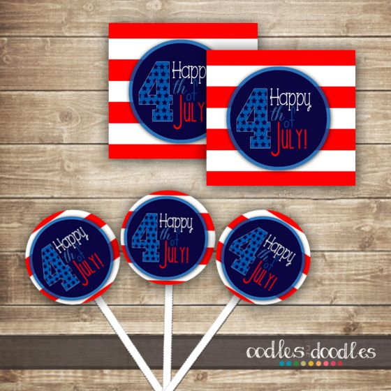 4th of July cupcake toppers / Free printables / Free 4th of July printables / red, white and blue party / 4th of July party printables / OandD