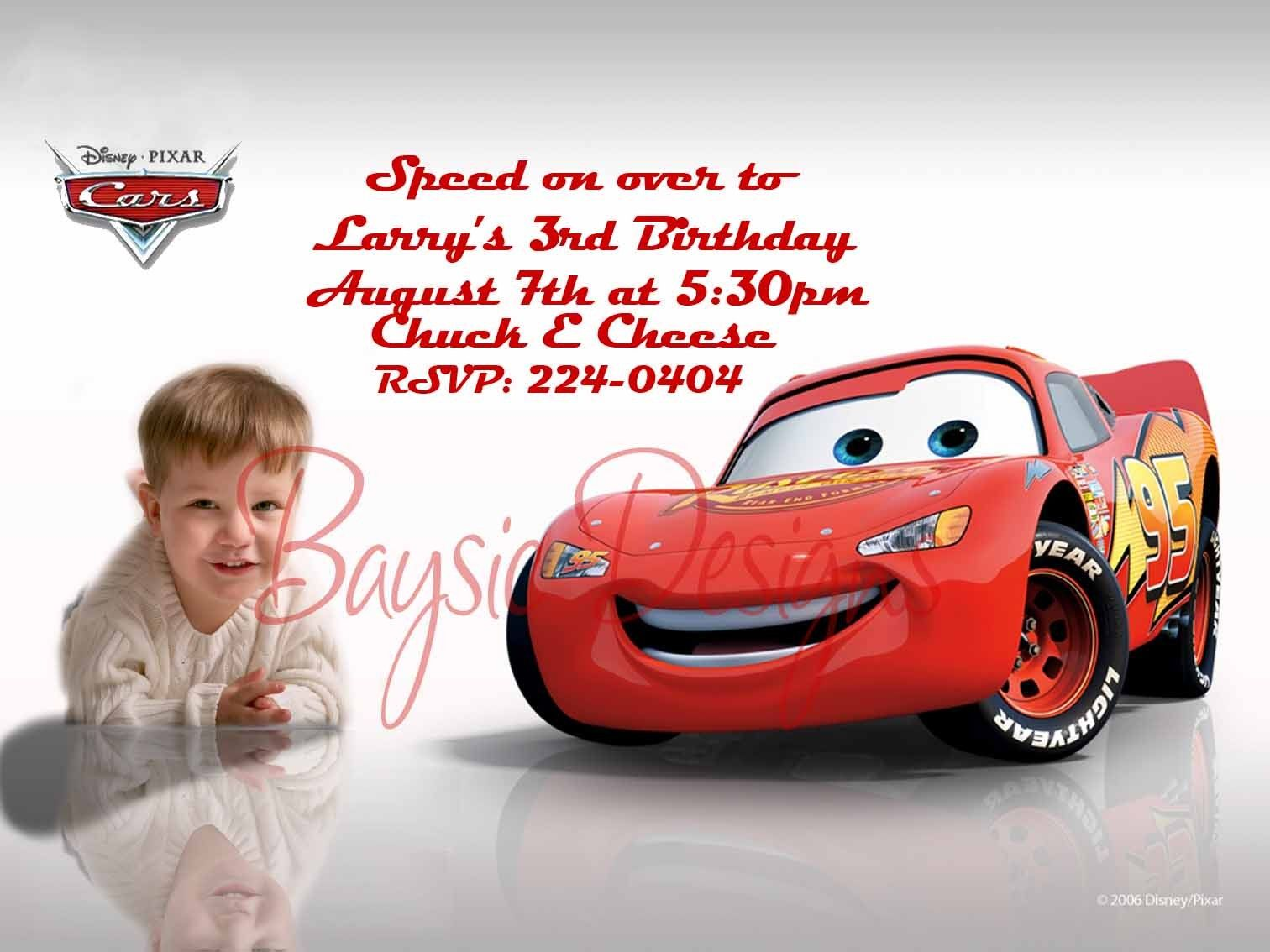 CUSTOM DISNEY CARS BIRTHDAY INVITATIONS FREE SHIPPING 1999 via