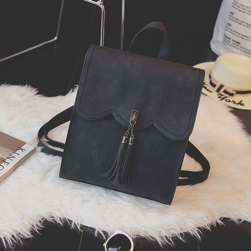 Toposhine 2016 New Women Backpack Female PU Leather Women s Backpacks Tassel  Girls Bags Retro Lady Hot dbfa3e7d6323a