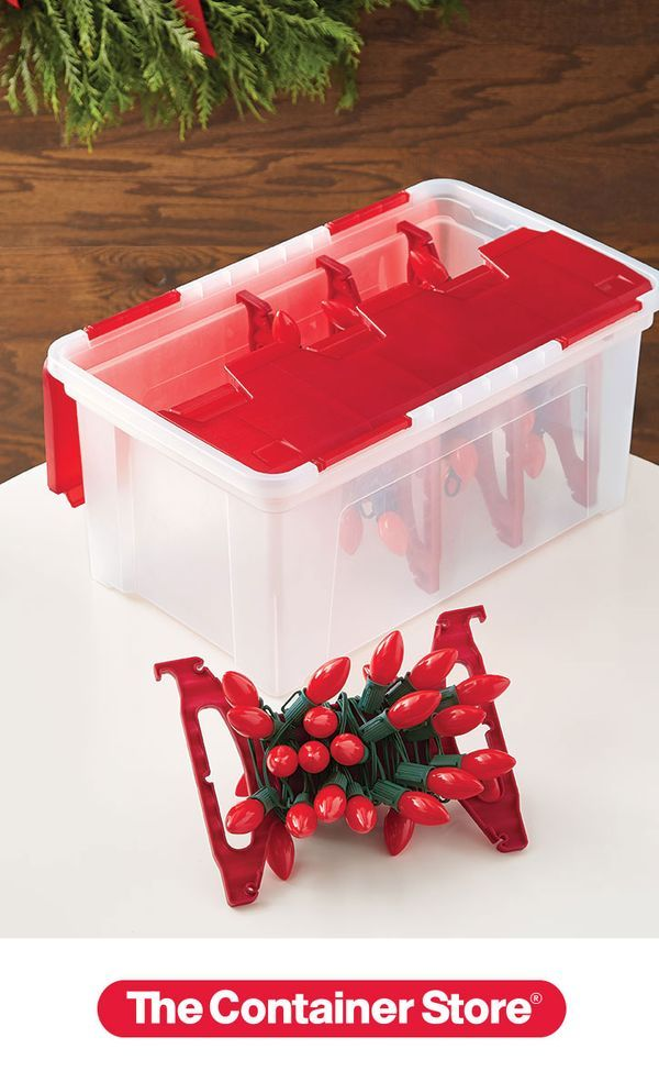 Don T Get Your Tinsel Lights Or Anything Else In A Tangle Store Them In Our Wing Lid Light Storage Holiday Storage Ornament Storage Box Holiday Organization